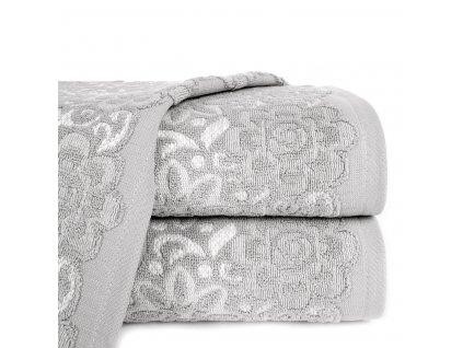 Bavlněný froté ručník se vzorem SAM 50x90 cm, šedá/bílá, 500 gr Mybesthome