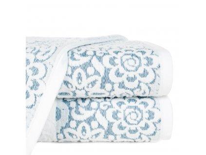 Bavlněný froté ručník se vzorem SAM 50x90 cm, bílá/modrá, 500 gr Mybesthome