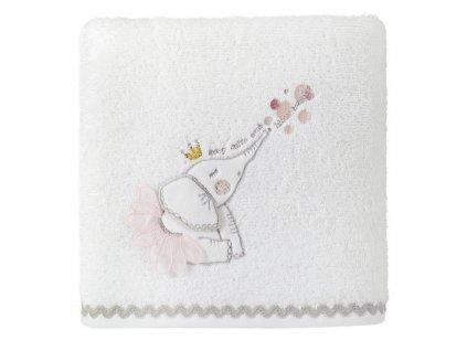 Bavlněný froté ručník s dětským motivem SLŮNĚ I. bílá 50x90 cm, 400 gr Mybesthome
