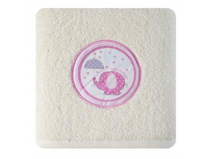 Bavlněný froté ručník s dětským motivem SLŮNĚ II. krémová/růžová 50x90 cm, 500 gr Mybesthome