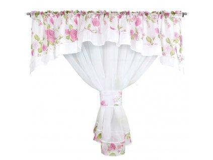 Dekorační záclona se SABINA bílá/pudrová růžová 400x160 cm MyBestHome