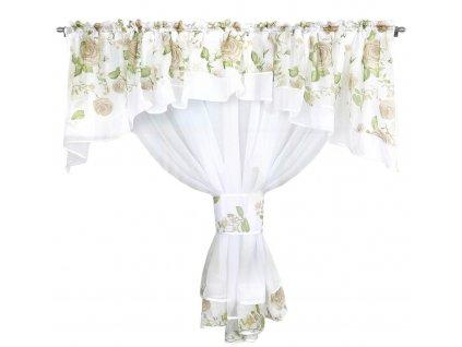 Dekorační záclona se SABINA bílá/zelená 400x160 cm MyBestHome