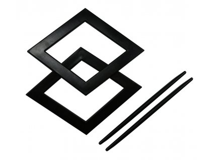Dekorační ozdobná spona na závěsy AMBRA, černá, 20x20 cm Mybesthome 2 kusy v balení