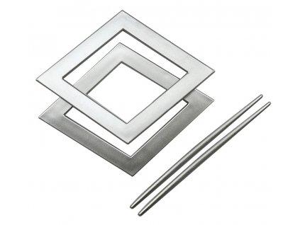 Dekorační ozdobná spona na závěsy AMBRA, stříbrná 20x20 cm Mybesthome 2 kusy v balení