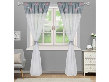 Dekorační záclona s řasící páskou ELEGANCE bílá/šedá 145x250 cm MyBestHome