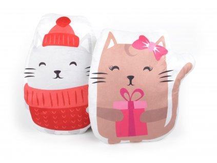 Polštářek tvarovaný PUPPY kočička s čepicí 41x41 cm Essex