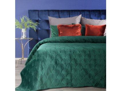 Přehoz na postel SAVA 220x240 cm tmavě zelená Mybesthome