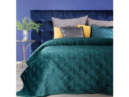 Přehoz na postel SAVA 220x240 cm tmavě tyrkysová Mybesthome