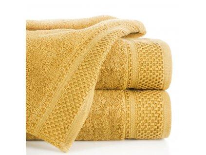 Bavlněný froté ručník s proužky CANDY 50x90 cm, mustrad/hořčice, 580 gr Mybesthome
