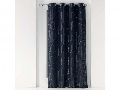 Dekorační závěs ALCANTA modrá/zlatá 140x260 cm MyBestHome