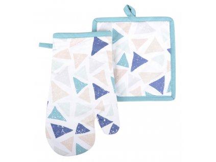 Kuchyňský SET rukavice/chňapka COLORS tyrkys, 18x30 cm/20X20 cm ESSEX, 100% bavlna