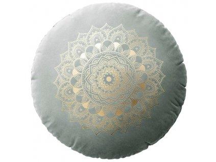 Polštář s výplní MANDALA šedá Ø 45 cm x 15 cm  Mybesthome