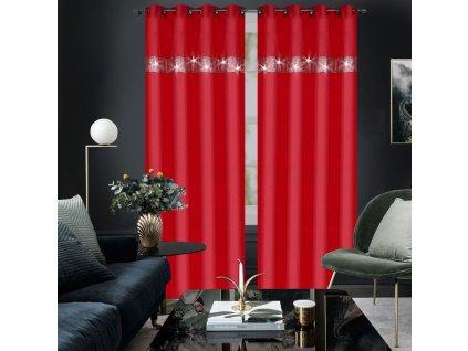 Dekorační závěs s kruhy ANDRE červená 145x250 cm MyBestHome