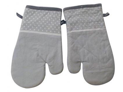 Kuchyňské bavlněné rukavice - chňapky LINDA šedá, 100% bavlna 19x30 cm Essex