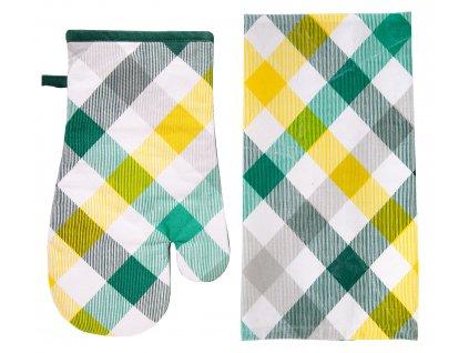 Kuchyňský DÁRKOVÝ set bavlněná utěrka/rukavice - chňapka GRASS žlutá, KOSTKA ESSEX