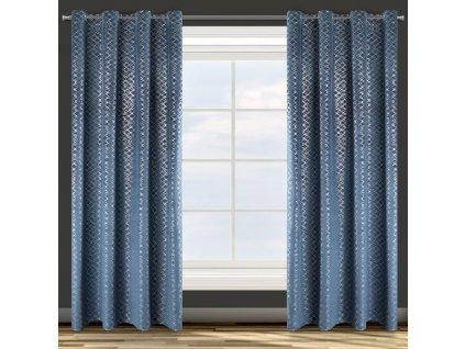 Dekorační vzorovaný velvet závěs MOLLY, modrá/stříbrná, (1 kus) 140x250 cm, MyBestHome