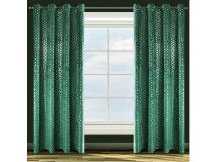 Dekorační vzorovaný velvet závěs MOLLY, zelená/stříbrná 140x250 cm (cena za 1 kus) MyBestHome