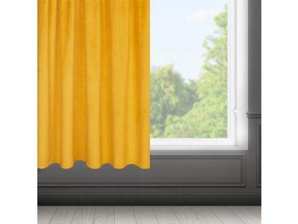 Dekorační krátký velvet závěs s řasící páskou OLGA mustard/hořčicová, (1 kus) 140x175 cm MyBestHome