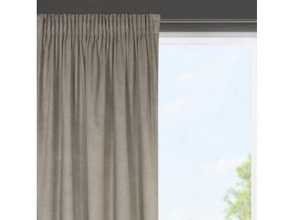 Dekorační krátký velvet závěs s řasící páskou OLGA béžová, (1 kus) 140x175 cm MyBestHome