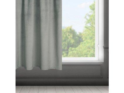 Dekorační krátký velvet závěs s řasící páskou OLGA šedá, (1 kus) 140x175 cm MyBestHome