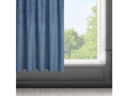Dekorační krátký velvet závěs s řasící páskou OLGA modrá, (1 kus) 140x175 cm MyBestHome