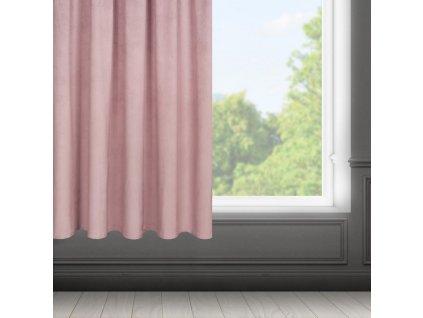 Dekorační krátký velvet závěs s řasící páskou OLGA růžová, (1 kus) 140x175 cm MyBestHome