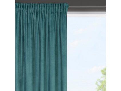 Dekorační krátký velvet závěs s řasící páskou OLGA tyrkysová, (1 kus) 140x175 cm MyBestHome