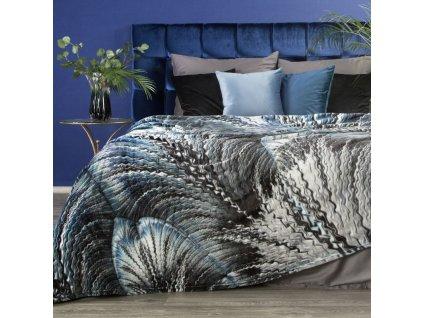 Luxusní deka z mikrovlákna EVA 13 stříbrná/modrá 150x200 cm Mybesthome