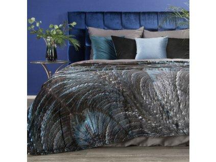 Luxusní deka z mikrovlákna EVA 14 černá/modrá 150x200 cm Mybesthome