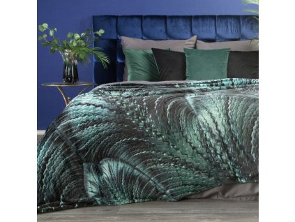 Luxusní deka z mikrovlákna EVA 15 černá/tyrkysová 150x200 cm Mybesthome