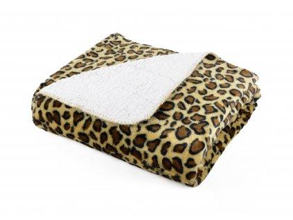 Přehoz s beránkem SAFARI 160x200 cm hnědá motiv gepard Essex