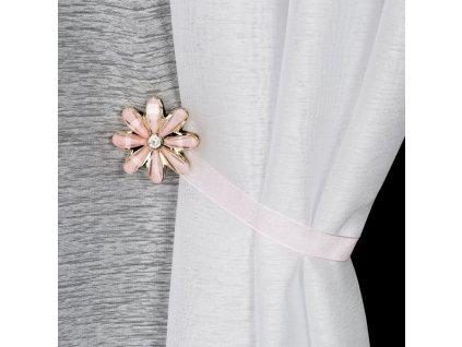Dekorační ozdobná spona na závěsy s magnetem VICTORIA růžová, Ø 5 cm Mybesthome
