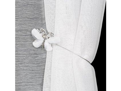 Dekorační ozdobná spona na závěsy s magnetem EMANUEL bílá, Ø 7 cm Mybesthome