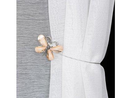 Dekorační ozdobná spona na závěsy s magnetem EMANUEL hnědá, Ø 7 cm Mybesthome