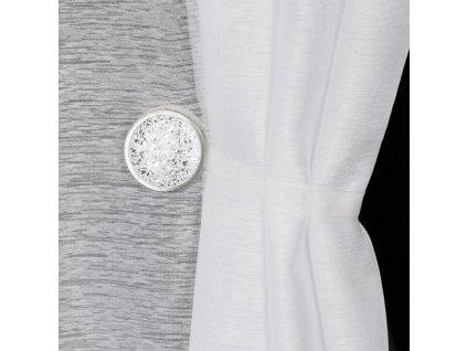 Dekorační ozdobná spona na závěsy s magnetem TESS stříbrná, Ø 4 cm Mybesthome