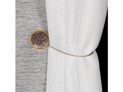 Dekorační ozdobná spona na závěsy s magnetem IZZY hnědá, Ø 4 cm Mybesthome