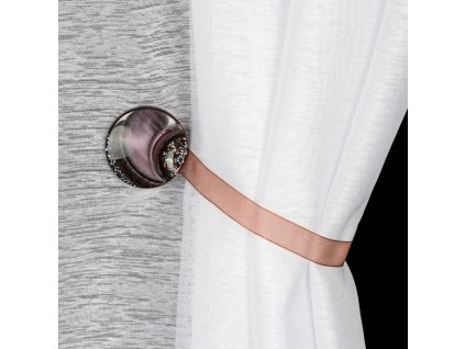 Dekorační ozdobná spona na závěsy s magnetem MARLENA hnědá, Ø 4 cm Mybesthome