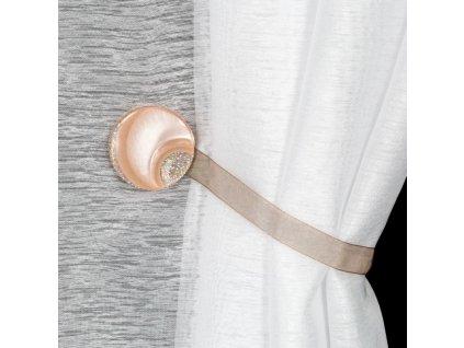 Dekorační ozdobná spona na závěsy s magnetem MARLENA světle hnědá, Ø 4 cm Mybesthome