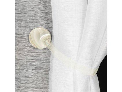 Dekorační ozdobná spona na závěsy s magnetem MARLENA krémová, Ø 4 cm Mybesthome