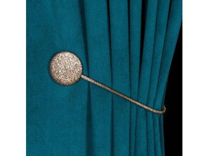 Dekorační ozdobná spona na závěsy s magnetem SARAH, hnědá, Ø 6 cm Mybesthome