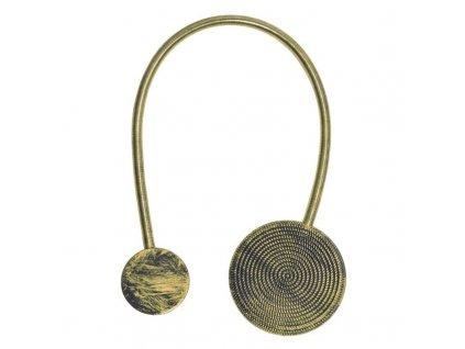 Dekorační ozdobná spona na závěsy s magnetem MODUS, hnědá, Ø 5,5 cm Mybesthome