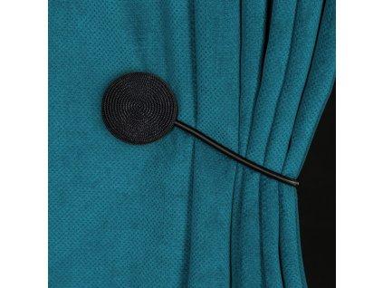 Dekorační ozdobná spona na závěsy s magnetem MODUS, černá, Ø 5,5 cm Mybesthome