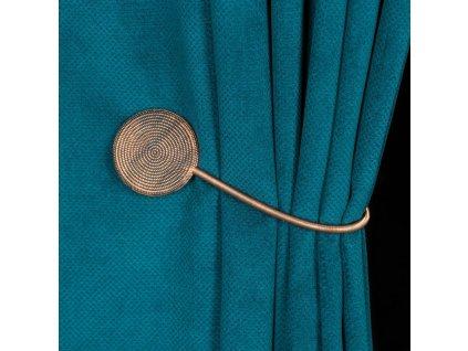 Dekorační ozdobná spona na závěsy s magnetem MODUS, měděná, Ø 5,5 cm Mybesthome
