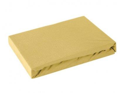 Jersey napínací prostěradlo GOLD mustard/hořčicová, různé rozměry, 100% bavlna, MyBestHome