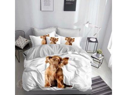 Povlečení HAPPY DOG 3D 1x 140x200 cm, 2x povlak 70x80 cm MyBestHome