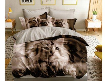 Povlečení CAT 3D 1x 140x200 cm, 2x povlak 70x80 cm MyBestHome