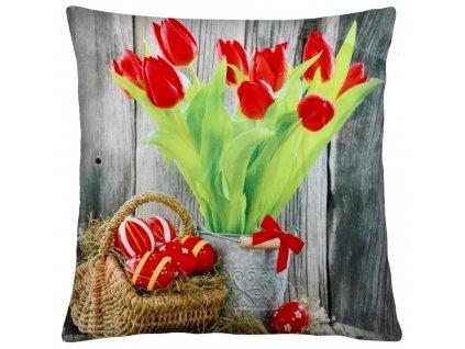 Polštář BLUME 40x40cm, motiv tulipány mikrovlákno ESSEX