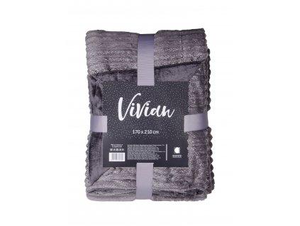 Deka - přehoz z mikrovlákna VIVIAN 170x210 cm tmavě šedá Essex