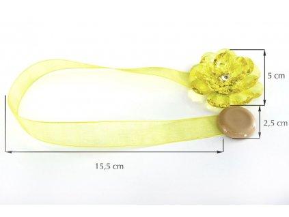 Dekorační ozdobná spona na závěsy s magnetem VALERIA 2, žlutá, Ø 5 cm 2 kusy v balení Mybesthome