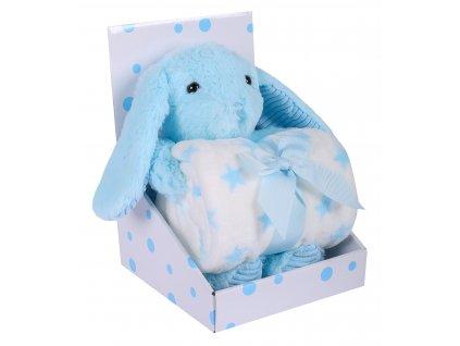 Dárkový set - dětská hračka KRÁLÍČEK s mikrovláknovou dekou modrá 75X100 cm